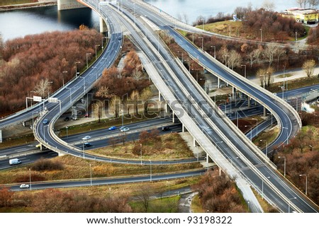 Aerial view of a highway - stock photo