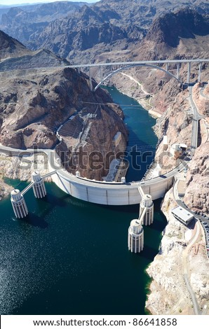 Aerial View of a hydroelectric plant and dam/Hoover Dam/Aerial Views of Hoover Dam - stock photo
