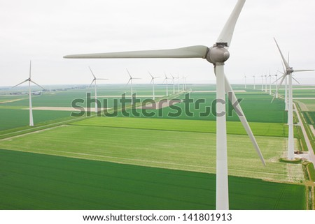 Aerial view of a many windmills - stock photo