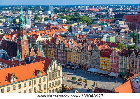 Aerial view of a Market Square in Wroclaw, Poland in a summer day - stock photo
