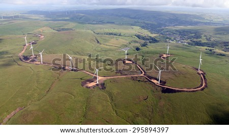 aerial view of a new wind farm under construction on hills in the North of England - stock photo