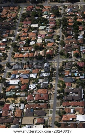 Aerial view of a Perth Suburb - stock photo