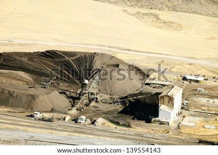 Aerial view of a phosphate mine processing mill - stock photo