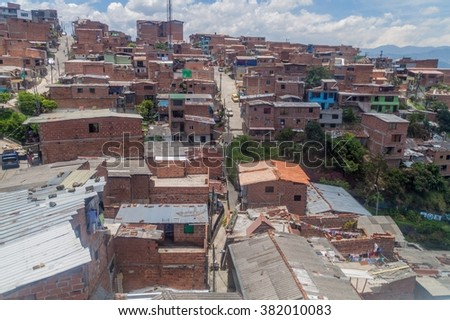 Aerial view of a poor neighborhood in Medellin, Colombia - stock photo