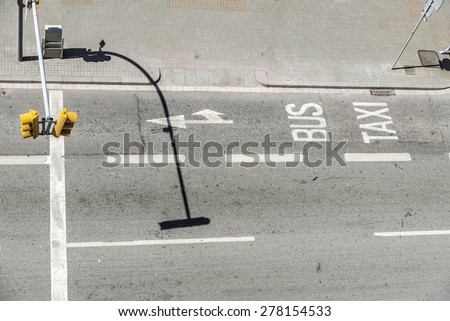 Aerial view of a reserved lane for bus and taxi - stock photo