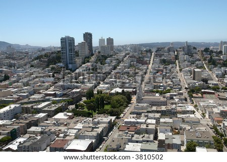 Aerial View of a Residential District - stock photo