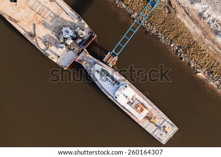 aerial view of a  river barge in Poland - stock photo