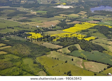 aerial view of a rural region and farmland in Southern Ontario, outskirts of Kitchener-Waterloo, Canada - stock photo