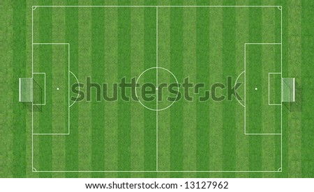 aerial view of a soccer field -3d rendering - stock photo