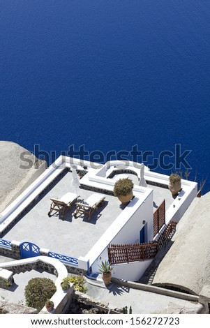 aerial view of a terrace in santorini greece - stock photo