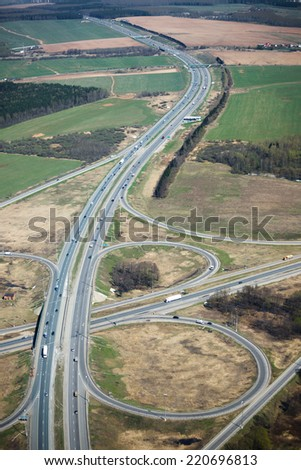 Aerial view of a transport intersection near Moscow in Russia. - stock photo