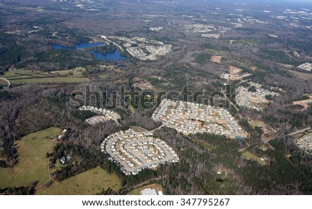 Aerial view of a typical affordable subdivision tract housing community in Atlanta, Georgia - stock photo