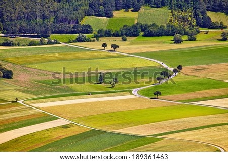 Aerial view of agricultural fields - stock photo