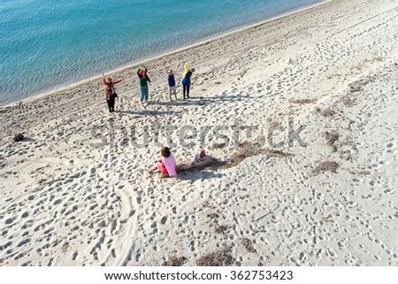 Aerial view of Aigeopelagitika beach in Halkidiki, Greece - stock photo