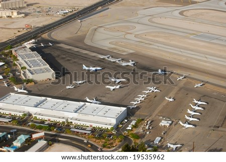 Aerial view of airport - stock photo