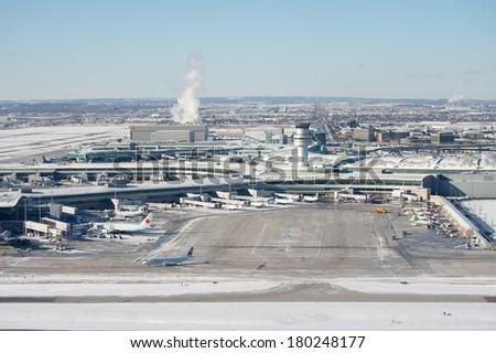 Aerial view of airport in Toronto Metro Area - stock photo