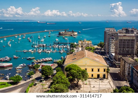 Aerial view of All Saints Bay (Baia de Todos os Santos) in Salvador, Bahia, Brazil. - stock photo