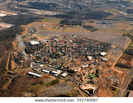 Aerial view of amusement park under construction - stock photo