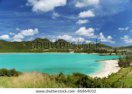 Aerial view of an idyllic beach in the Caribbean - stock photo