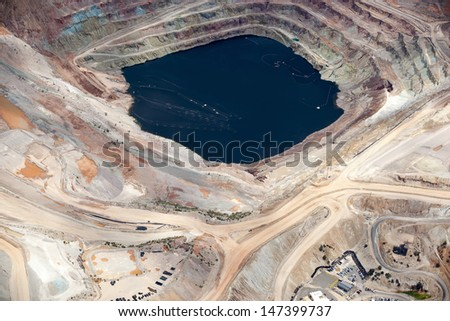 Aerial view of an open pit mining in Arizona - stock photo