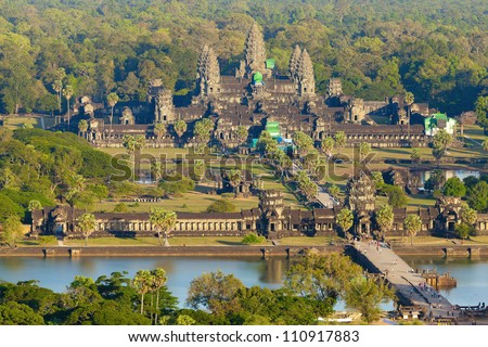 Aerial view of Angkor Wat - stock photo