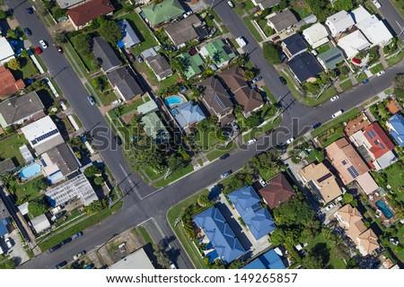 Aerial view of  australian suburban houses - stock photo