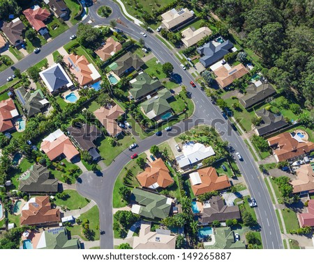 Aerial view of  australian suburban houses - stock photo