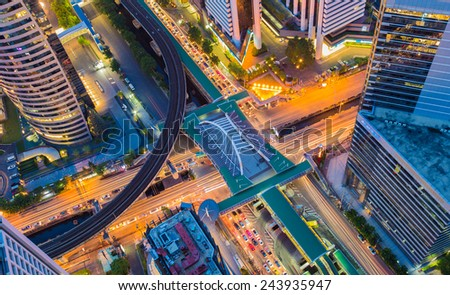 Aerial view of Bangkok central business center, night traffic - stock photo