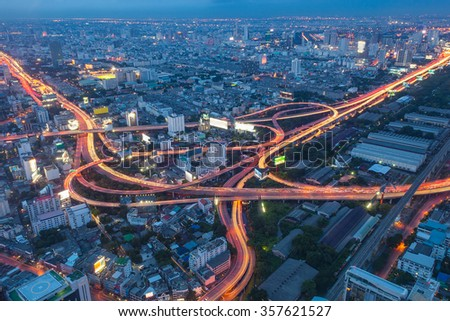 Aerial view of Bangkok city, Night scene with traffic light, Thailand - stock photo