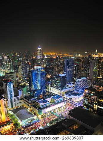 Aerial view of Bangkok downtown at night. Thailand - stock photo