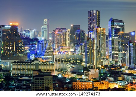 Aerial view of Bangkok downtown Skyline at night - stock photo