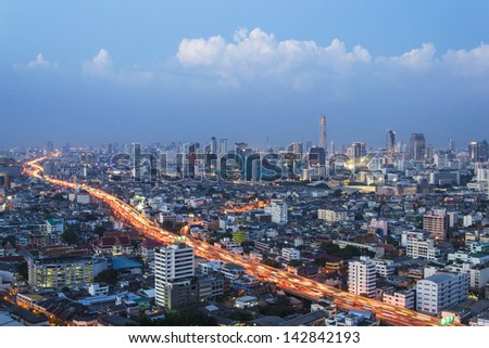 aerial view of Bangkok Highway and skylines building downtown - stock photo