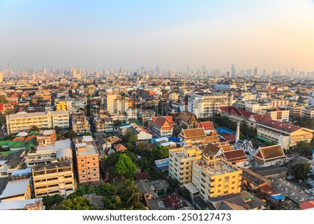 Aerial view of Bangkok in the evening - stock photo