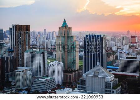 Aerial view of Bangkok Skyline at sunset - stock photo