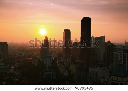 Aerial view of Bangkok Skyline cityscape with sunset Thailand - stock photo