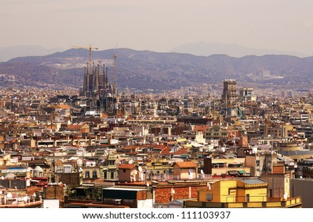 Aerial view of Barcelona city Aerial view of Barcelona city with Sagrada Familia in background, Spain. - stock photo