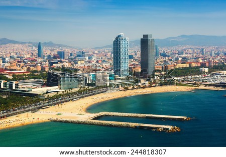 aerial view of Barcelona from Mediterranean sea.  - stock photo