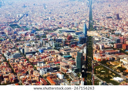 Aerial view of Barcelona with Avenue Diagonal.  Catalonia, Spain - stock photo