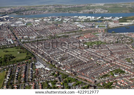 aerial view of Barrow in Furness town in Cumbria, UK - stock photo