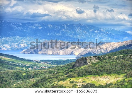 Aerial view of Baska town, Croatia. - stock photo