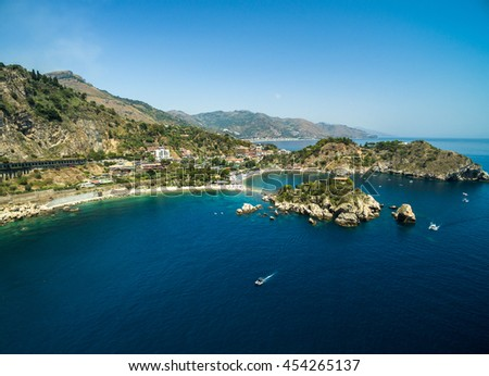 Aerial View of beach and island Isola Bella at Taormina, Sicily - stock photo