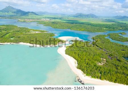 Aerial view of beach in Mauritius - bird's eye view - stock photo