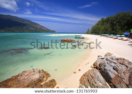 Aerial view of beautiful beach of Koh Lipe against blue sky in Satun, Thailand - stock photo