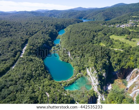 aerial view of beautiful nature in Plitvice Lakes National Park, Croatia - stock photo