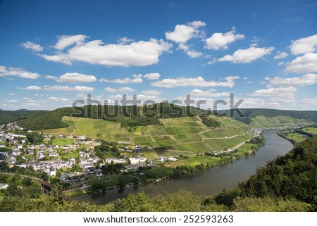 Aerial view of beautiful river Moselle in Germany near city Bullay - stock photo
