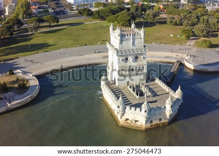 Aerial view of Belem tower - Torre de Belem  in Lisbon, Portugal - stock photo