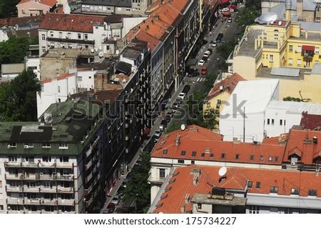 Aerial view of Belgrade, capital Serbia - stock photo
