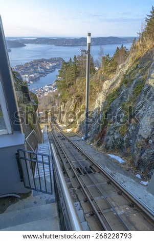 Aerial View of Bergen from Mount Floyen, Norway - stock photo