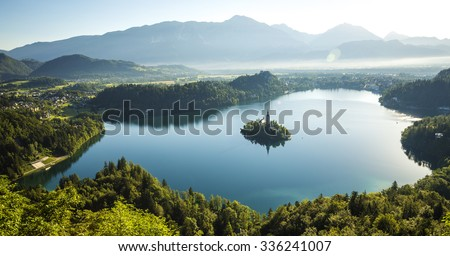Aerial view of Bled lake, Slovenia - stock photo