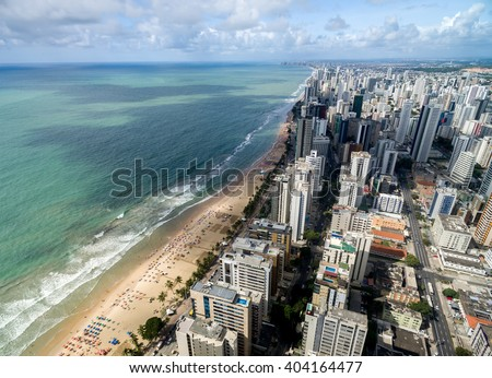 Aerial View of Boa Viagem Beach, Recife, Pernambuco, Brazil - stock photo